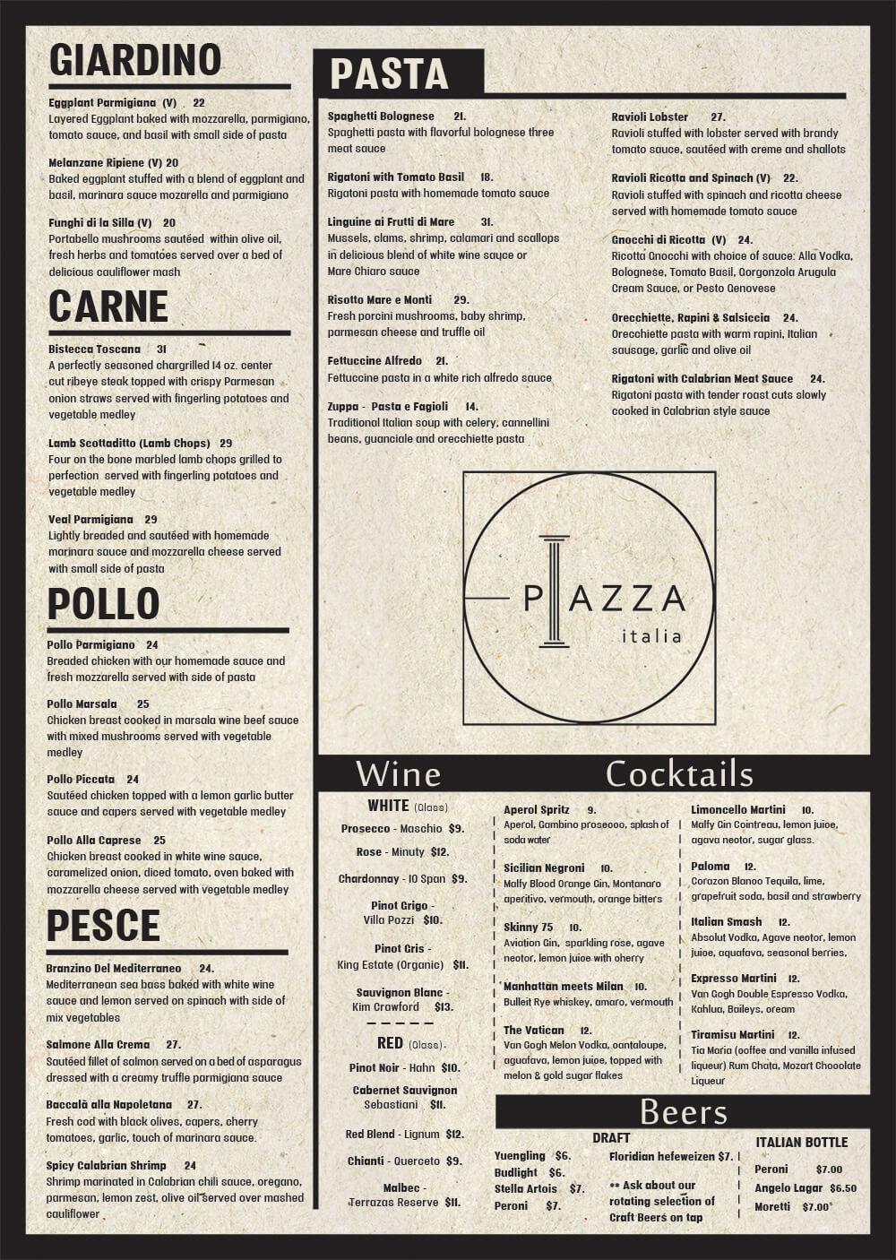 Piazza Menu Page 2